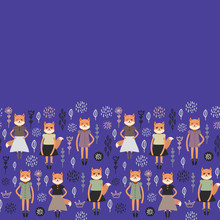 Funny Kawaii Fox Girl In Dress With Pink Cheeks, Cartoon Pet Gray Black White Orange On Navy Blue Flowers Leaves Background. Can Be Used For Greeting Card Design, Your Text, Fashion Baby Print. Vector