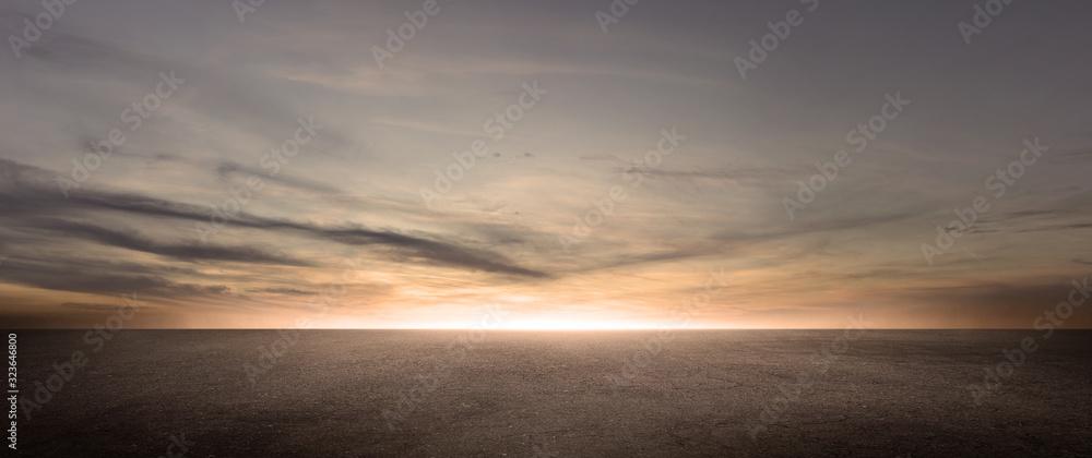 Fototapeta Dark Floor Background Beautiful Clouds Sunset Night Sky Horizon Scene