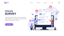 Online Survey Concept With Characters. Can Use For Landing Page, Template, Ui, Web, Homepage, Poster, Banner, Flyer. Flat Vector Illustration With Background