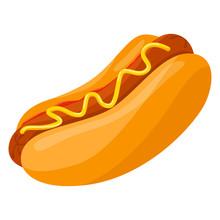 Hot Dog. Unhealthy Fastfood Wi...