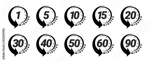 Fotografija Minute timer icons set
