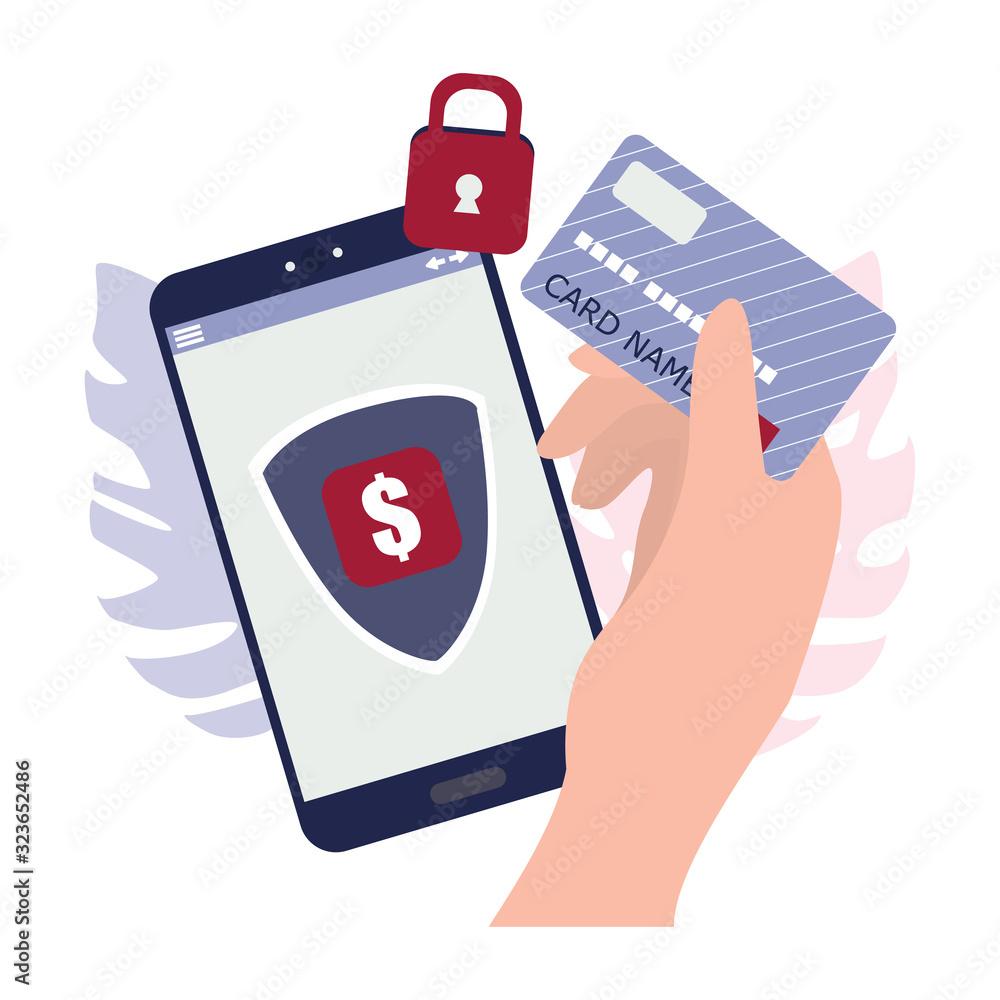 Fototapeta Safe mobile payment concept.Making money transaction on digital device.