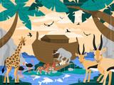 Fototapeta Fototapety na ścianę do pokoju dziecięcego - Noah with animals and arc genesis illustration