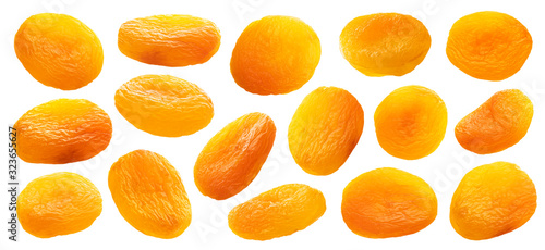 Collection of dried apricots isolated on white background Wallpaper Mural