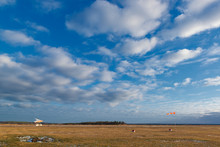 Airfield With A Small Plane And Windsock.