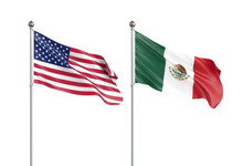 Two Waving Flags. United State...