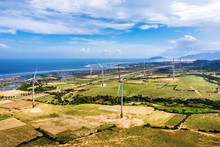 Aerial View Of  Wind Turbines ...
