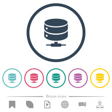 Network Database Flat Color Icons In Round Outlines