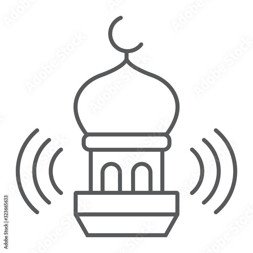 Adhan call thin line icon, ramadan and religion, mosque sign, vector graphics, a linear pattern on a white background, eps 10 Canvas Print