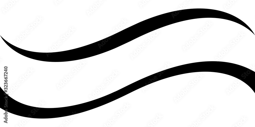 Fototapeta Curved calligraphic line strip, vector, ribbon like road element of calligraphy gracefully curved line