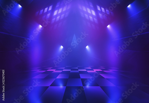 Dark abstract background. Empty scene in a nightclub. Neon purple and blue lights, smoke.