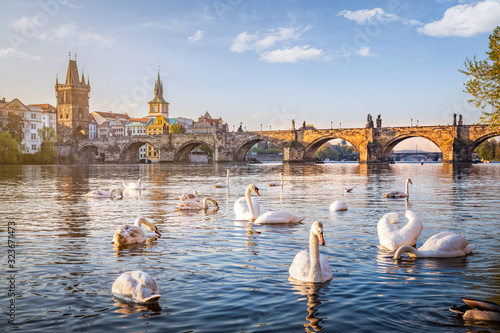 Fototapeta Prague old town with Moldova river and Charles bridge