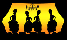 Silhouettes Of Cancan Dancer I...