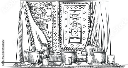 Sketch of traditional tea ceremony in Azerbaijan Canvas-taulu