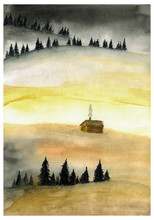 Landscape With Spruce Trees An...