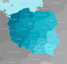 Vector Modern Illustration. Simplified Geographical  Map Of Poland (in Blue Colors) And Neighboring Countries (Germany, Czech Republic, Ukraine And Etc. In Grey). Names Of Polish Cities And Provinces.