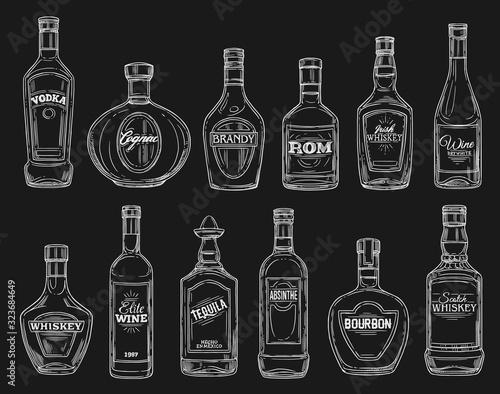 Fotografie, Obraz Alcohol drink bottle chalk sketches on blackboard