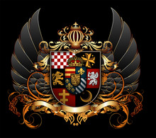 Ornamental Heraldic Shield. Highly Realistic Illustration.