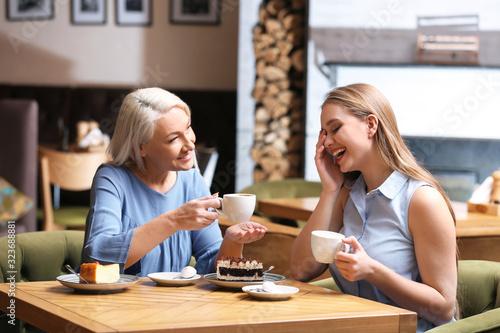 Mother and her adult daughter spending time together in cafe Tapéta, Fotótapéta