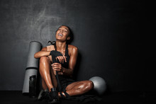 Image Of Young African American Sportswoman With Fitness Equipment