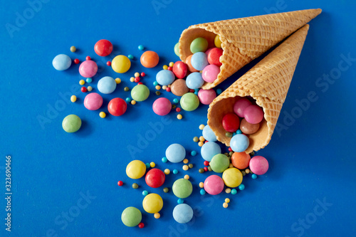 Photo Party background with colorful candy and cones
