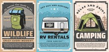 Mountain Outdoor Adventures And Forest Camping Retro Posters Of Travel Vector Design. Tourist Camp Tent, Backpack And Rv Trailer, Mountains, Forest Trees And Desert Landscape, Tourism Themes