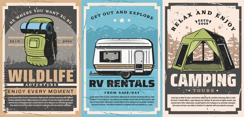 Foto Mountain outdoor adventures and forest camping retro posters of travel vector design