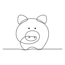 Piggy Bank In Continuous Line ...