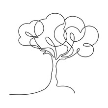 Abstract Tree In Continuous Line Art Drawing Style. Minimalist Black Linear Sketch Isolated On White Background. Vector Illustration