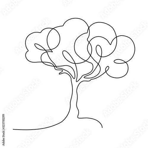 Naklejki do wnętrz  abstract-tree-in-continuous-line-art-drawing-style-minimalist-black-linear-sketch-isolated