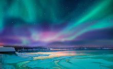 "Northern Lights (Aurora Borealis) In The Sky Over Tromso, Norway ""Elements Of This Image Furnished By NASA"""