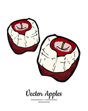 Apples Vector Isolated. Red Pe...