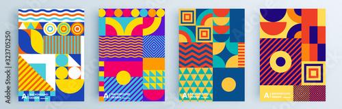 Fototapeta Modern abstract covers set, minimal covers design. Colorful geometric background, vector illustration. obraz