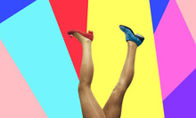 Sexy Woman Legs In Gold Tights And Shoes Over Colorful Background. Collage In Magazine Style, Pop Art Collection.