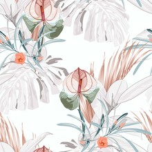 Seamless Tropical Exotic Flowers And Ficus Elastica And Leaves Pattern On Light Background.  Exotic Print. Vintage Motives.