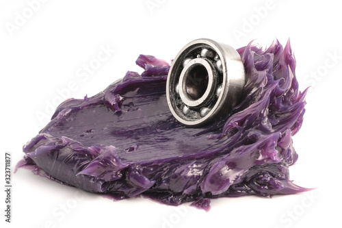 Automotive and Industrial close up grease, Ball bearing put on the Lithium complex  multipurpose grease NLGI 3 (Purple) isolated on white background Canvas Print
