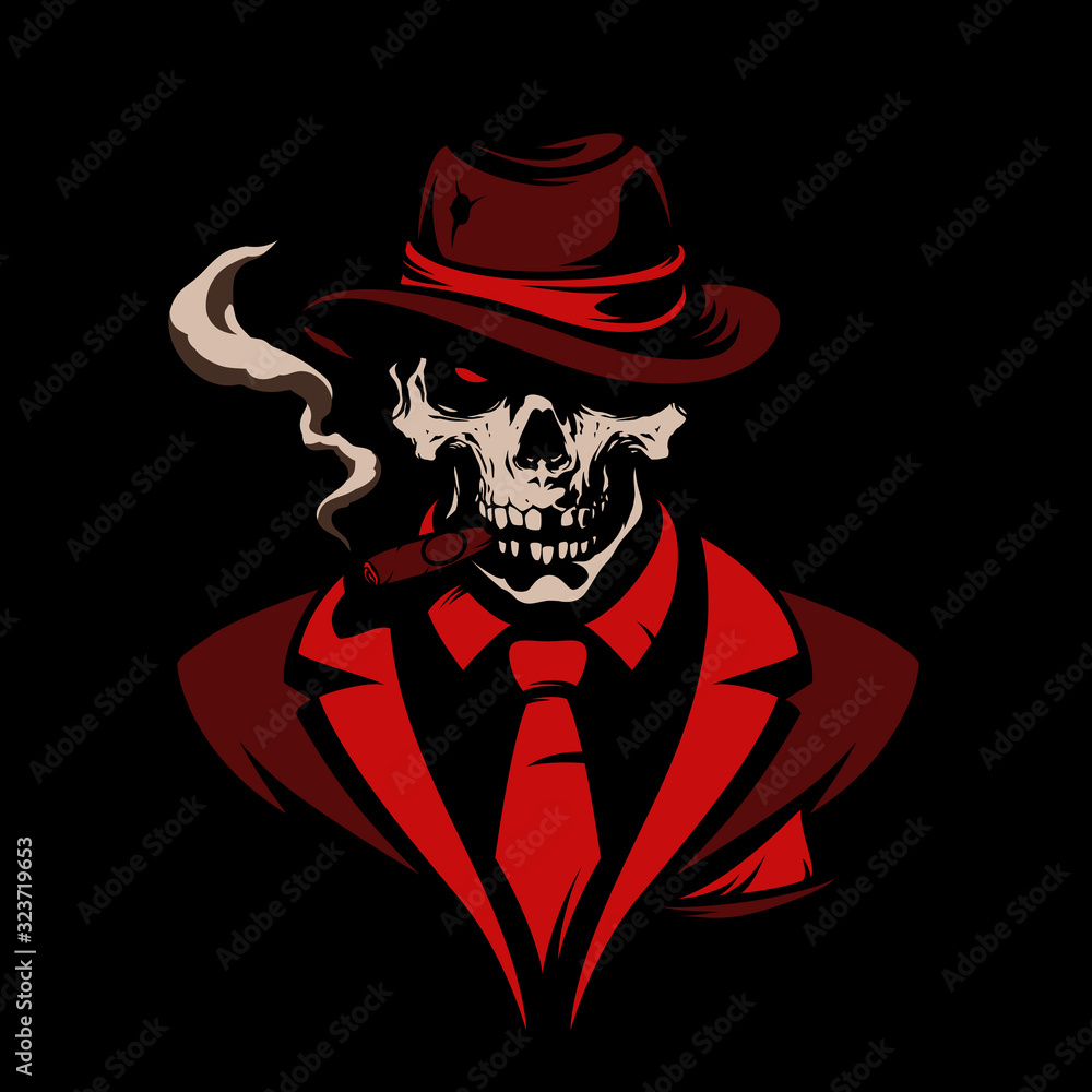Fototapeta Skull in gangster hat with cigar on black background