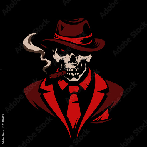 Fototapeta Skull in gangster hat with cigar on black background obraz