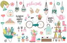 Set Of Hand Drawn Garden Equipment Tools In Scandinavian Style, Flower Pots, Wheelbarrow, Lettering, Bicycle. Spring In The Garden Concept, Isolated On White Background.  Garden Is My Happy Place