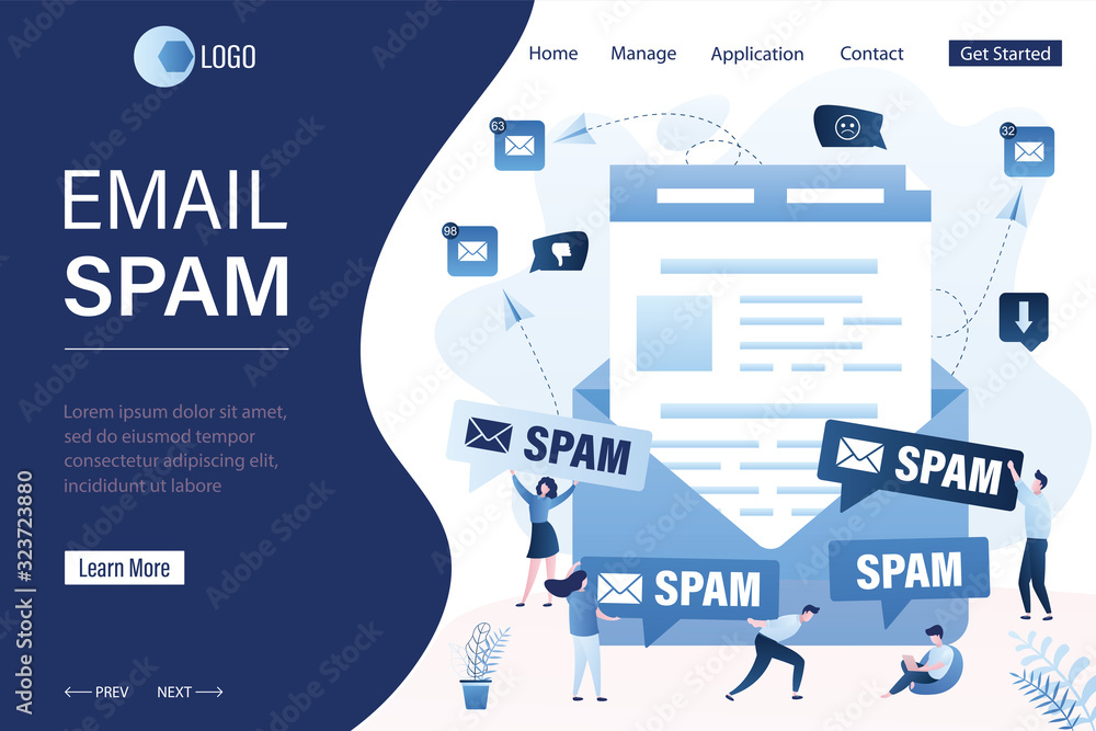 Fototapeta Spamming and hacking attack landing page template. Walware, phishing concept background