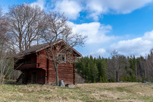 Old Abandoned Log Cabin With L...
