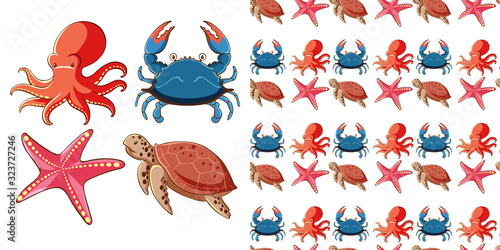 Photo Seamless background design with sea creatures