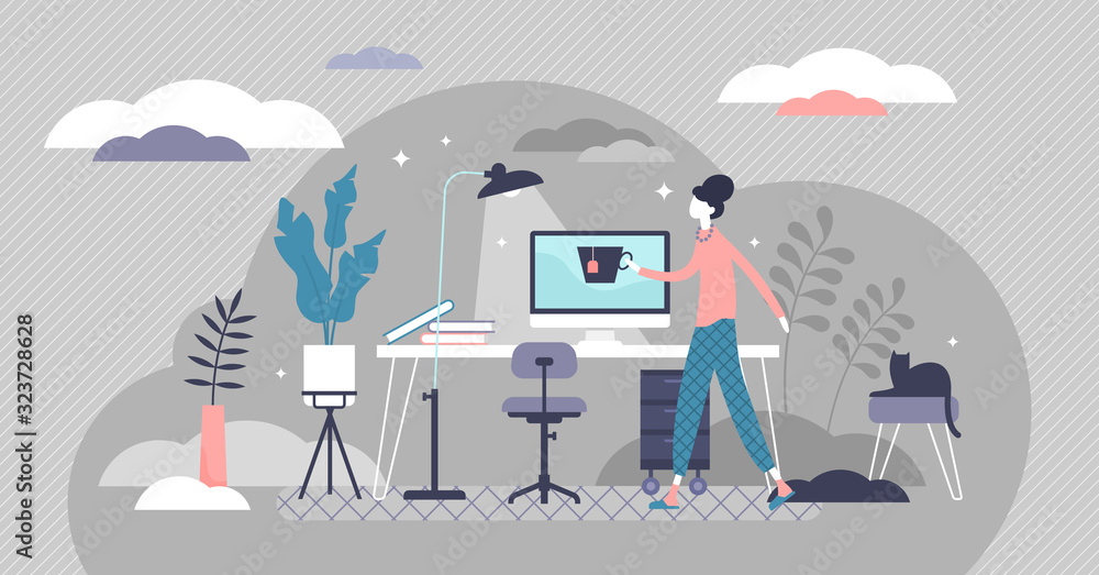Fototapeta Work from home concept, flat tiny person vector illustration