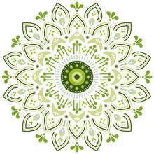 Eco And Nature Style Illustration. Floral Ornament Mandala On White Background