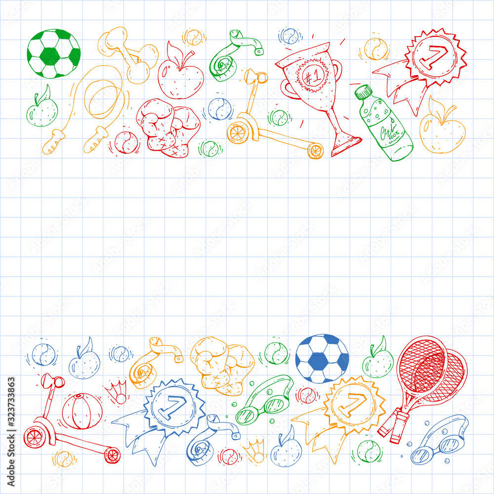 Fototapeta Vector pattern with sport elements. Fitness, games, exercises. Doodle icons in kids drawing style