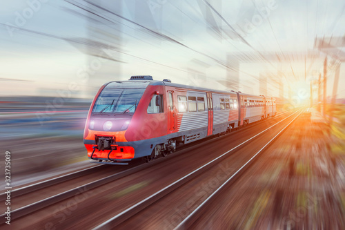 Fotomural High-speed train on rail road with motion blur.