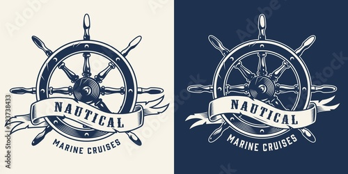 Photo Vintage marine cruise monochrome emblem