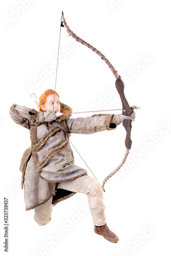 female archer posing Canvas Print