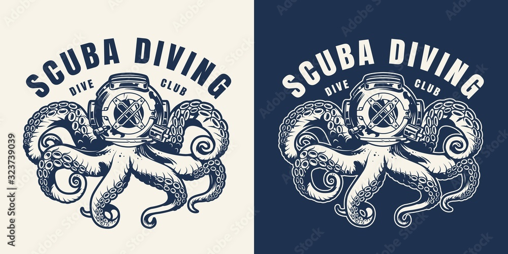Fototapeta Vintage scuba diving monochrome emblem