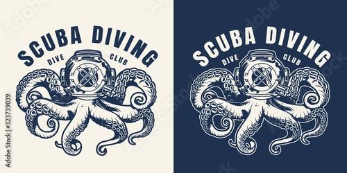 Fototapeta Vintage scuba diving monochrome emblem obraz